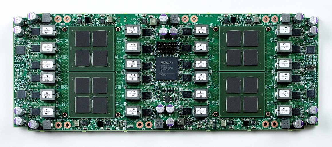 Mining board equipped with 12 nm FFC process based mining chips